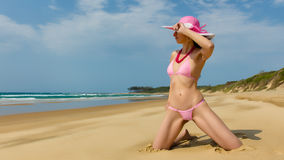Woman wearing pink bikini. Stock Photo