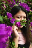 Woman Wearing Pink and Black Shirt Near Purple Petaled Flowers at Daytime Royalty Free Stock Images