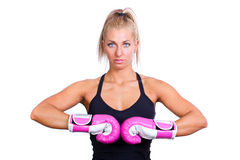 Woman Wearing Pink Boxing Gloves Royalty Free Stock Images