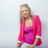Woman wearing pink jacket Stock Photos