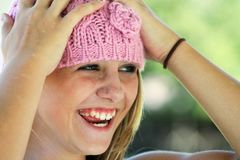 Woman Wearing Pink Knit Cap Stock Photos