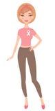 Woman wearing pink ribbon Stock Photo