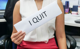 Woman wearing pink skirt quit job Stock Images