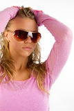 Woman wearing pink sweater Royalty Free Stock Images