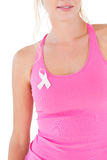 Woman wearing pink top and breast cancer ribbon Stock Photos