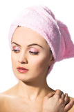 Woman wearing pink towel Royalty Free Stock Photography