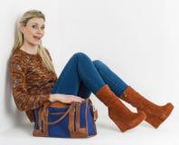 Woman wearing platform shoes Royalty Free Stock Image