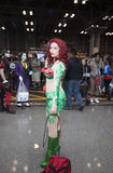 Woman wearing Poison Ivy costume at NY Comic Con Stock Images
