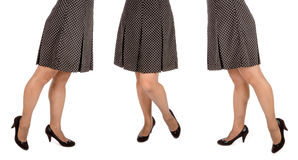 Woman Wearing Polka Dot Mini Skirt and Black Suede Pumps #1 Stock Images