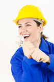 Woman holding Adjustable Wrench Royalty Free Stock Photos