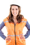 A woman wearing protective equipment Stock Image