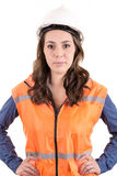 A woman wearing protective equipment Stock Photos