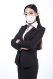 Woman wearing a protective mask with Royalty Free Stock Photography