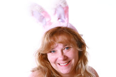 Woman wearing rabbit ears Stock Image