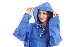 Woman wearing raincoat royalty free stock images