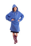 Woman wearing raincoat Stock Photos