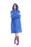 Woman wearing raincoat Stock Photo