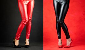 Free Woman Wearing Red And Black Leather Pants And High Heels Royalty Free Stock Photos - 157722438