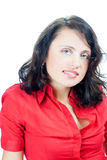 Woman wearing red blouse isolated Royalty Free Stock Image