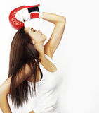 Woman wearing red boxing gloves Royalty Free Stock Images
