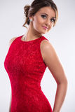 Woman  wearing  red dress Royalty Free Stock Photography