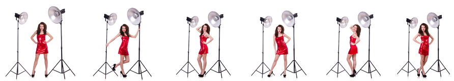 The woman wearing red dress isolated on white Royalty Free Stock Photos