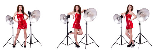 The woman wearing red dress isolated on white Stock Photography