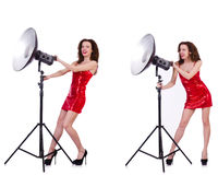 The woman wearing red dress isolated on white Stock Image