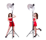 The woman wearing red dress isolated on white Stock Photos