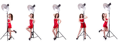 The woman wearing red dress isolated on white Royalty Free Stock Images