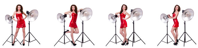 The woman wearing red dress isolated on white Royalty Free Stock Photography