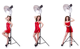 The woman wearing red dress isolated on white Stock Images