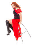 Woman Wearing Red Gown and Boots on Chair Royalty Free Stock Image