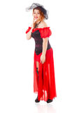 Woman Wearing Red Gown with Veil Stock Image