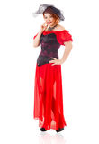 Woman Wearing Red Gown with Veil Royalty Free Stock Images