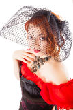 Woman Wearing Red Gown with Veil royalty free stock photo