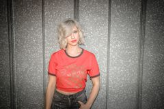 Woman Wearing Red and Gray Crew-neck T-shirt Stock Photography