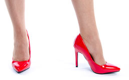 Woman wearing red high heel shoes Stock Photo
