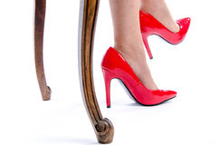 Woman wearing red high heel shoes Royalty Free Stock Photo