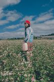 Woman Wearing Red Knit Hat and Blue Hoodie Jacket Royalty Free Stock Photography