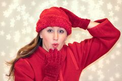 Woman Wearing Red Knitted Hat Doing Pose Royalty Free Stock Photo