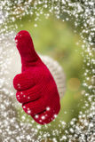 Woman Wearing Red Mittens Holding Out Thumbs Up Hand Sign Royalty Free Stock Image