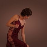 Woman wearing red nightgown  Royalty Free Stock Photos