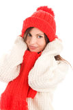 Woman wearing red scarf and cap. Pretty young woman wearing red scarf and cap isolated on white background Stock Photos