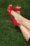 Woman Wearing Red Shoes Royalty Free Stock Photography