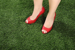 Woman Wearing Red Shoes Royalty Free Stock Images