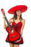 Woman wearing red sombrero isolated Stock Photos
