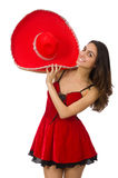Woman wearing red sombrero isolated Royalty Free Stock Photography