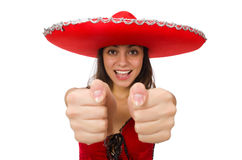 Woman wearing red sombrero isolated Stock Image