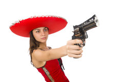Woman wearing red sombrero isolated Stock Images